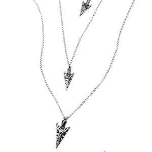 Silver Boho Arrowhead Necklace and Earring Set